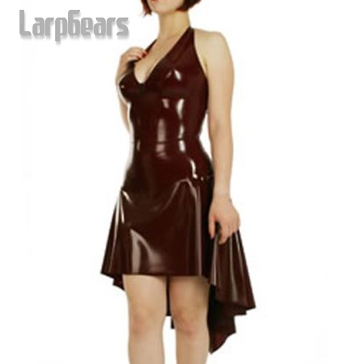 Nouveau Latex caoutchouc v-cou Gummi robe jupe costume costume uniforme mode de fête
