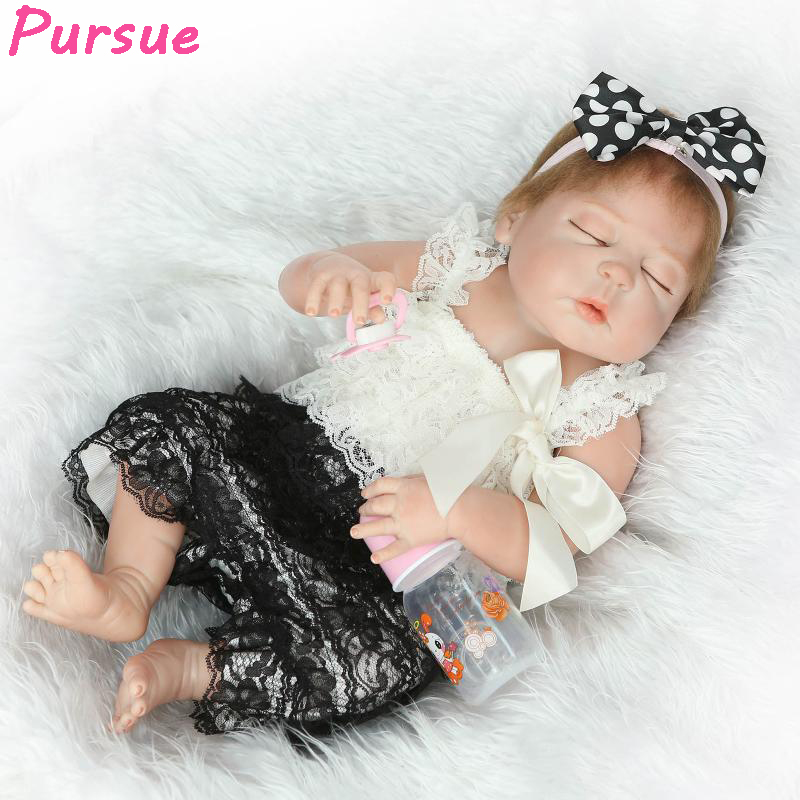 Pursue 57cm Real Baby Doll Body Silicone Newborn Reborn Girl Baby Doll Toys for Girls bebe reborn menina com corpo de silicone pursue 57cm newborn lifelike boy reborn baby dolls full body silicone reborn toddler dolls boy bebe reborn com corpo de silicone