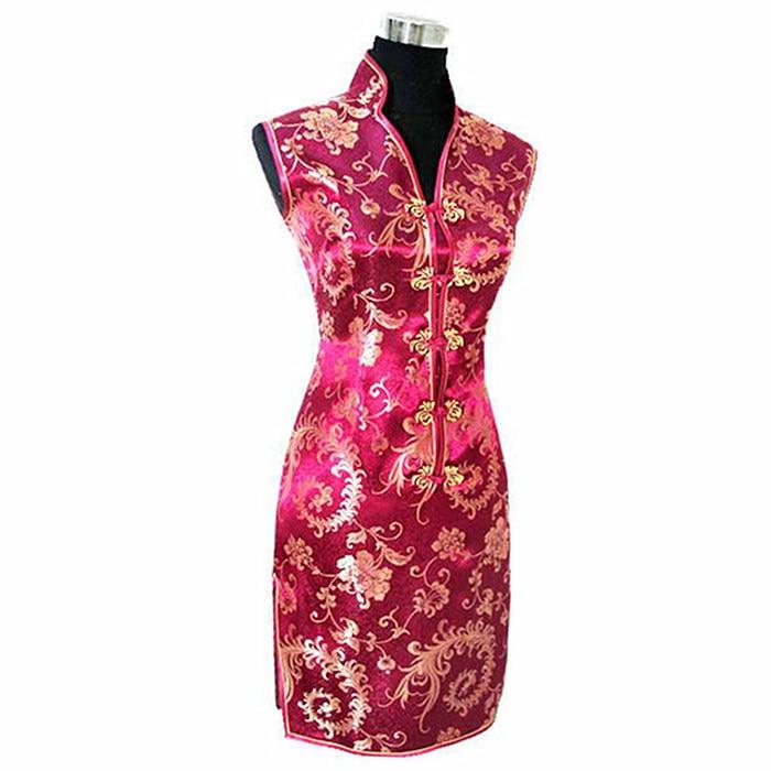 5c7f8d76e שחור אדום סינית מסורתית שמלת Mujer Vestido נשים סאטן V-צוואר Cheongsam מיני  Qipao פרח גודל S M L XL XXL XXXL JY012-6 ~ Premium Deal June 2019