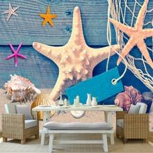 custom 3d high quality non-woven mural wallpaper Mediterranean style fishing net shell bedroom living room background wall