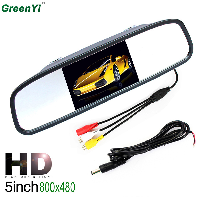 GreenYi M500 10PCS Wholesale HD 800*480 5 inch Digital TFT LCD Full Color Mirror Parking Car Monitor With 2 Video Input