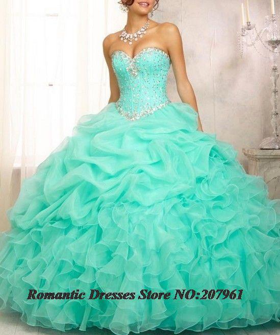 3b1550b04f0 In stock 2016 Organza Ruffled Mint Green Quinceanera Dresses ...