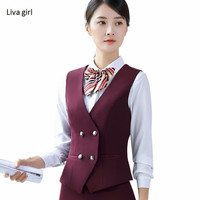 emperament business vest women work wear uniforms Slim Double Breasted V Neck Formal office ladies plus size vest coat