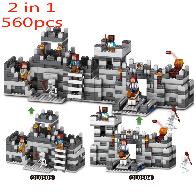560 pcs 2 in 1 MY WORLD Compatible  Minecraft Building Block The Wall Guard Educational toys hobbies gift