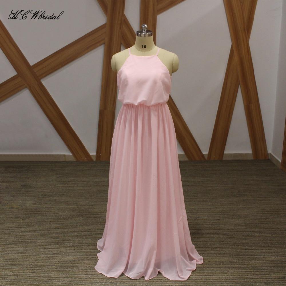 Simple Pink Chiffon Long Evening Dress Spaghetti Strap A