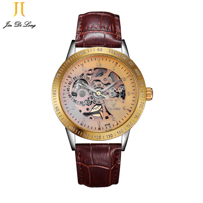 TEVISE Mens Watches Luxury Watch Skeleton Automati