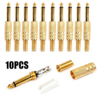 10 Pcs Gold Plated 6.35mm Male 1/4 Mono Jack Plug Audio Connector Soldering for Mono Microphone Connecting