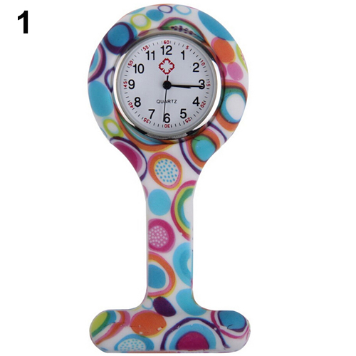 Patterned Silicone Nurses Brooch Tunic Fob Pocket Watch Stainless Dial  N76Y