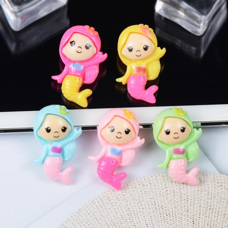 10 Pcs/lot Cute Cartoon DIY Patch Mermaid Girl Figurine Crafts Toy Hair Storage Box Accessories Kids Craft Toys Gift