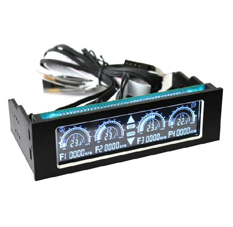Free shipping wholesale 1PCS lot LCD 5 25 media dashboard VFD touch screen 4 channel fan