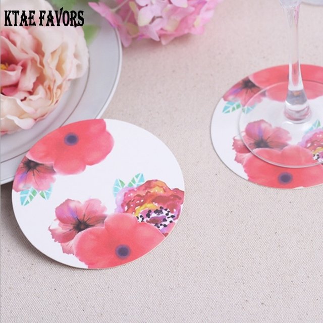 12Pcs Rose Round Paper Coaster Wedding Favors Gifts Cup Coasters Coffee Mug Party Decoration Table Mats