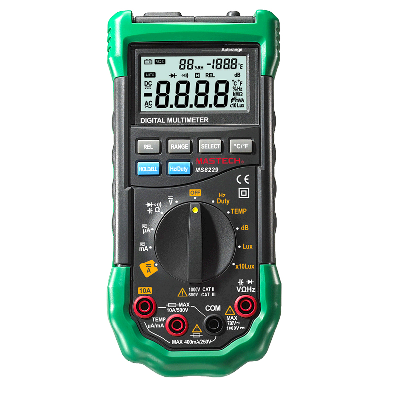 Mastech MS8229 Auto-Range Digital Multimeter With Multi-function Lux Sound Level Temperature Humidity Tester Meter mastech ms8250a digital multimeter auto range tester detector
