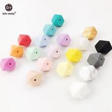 Lassen sie machen Silikon Perlen Für Beißring Mix Farben 50 Große 17mm Lila Geometrische Hexagon DIY Halskette Armband Baby beißring
