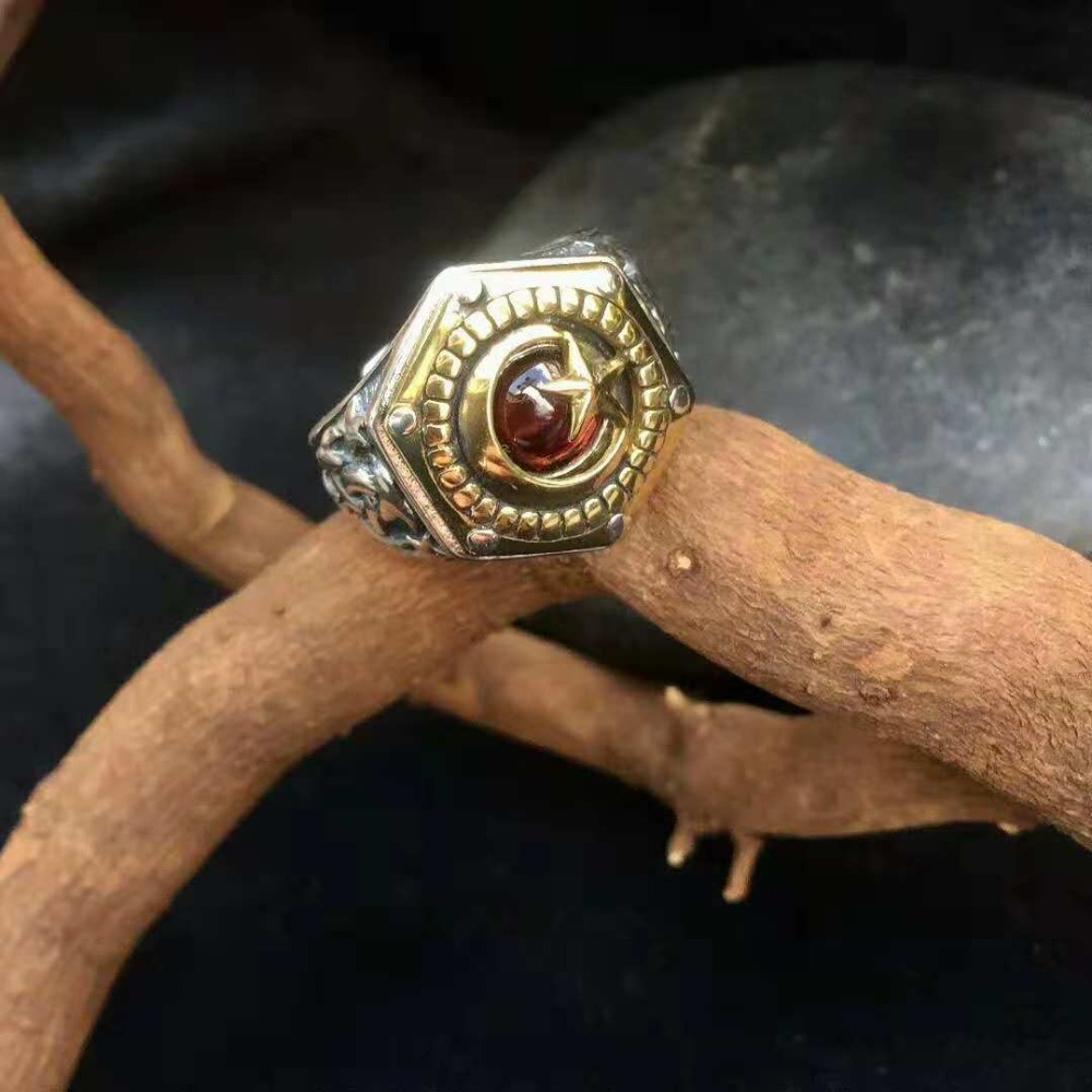925 sterling silver inlaid with natural garnet sun and moon stars ring