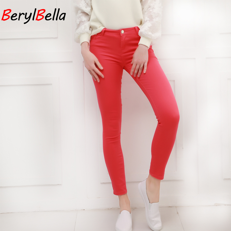 Women Pants Candy Jeans 2018 Spring Fall Pencil Pants Slim Casual Female  Stretch Trousers White Jean 28daec954eef