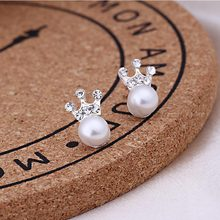 Women Cute Crystal Heart Stud Pearl Earrings For Women Wear Fashion Jewelry Wedding Accessories pendientes Mujer Small Earrings(China)