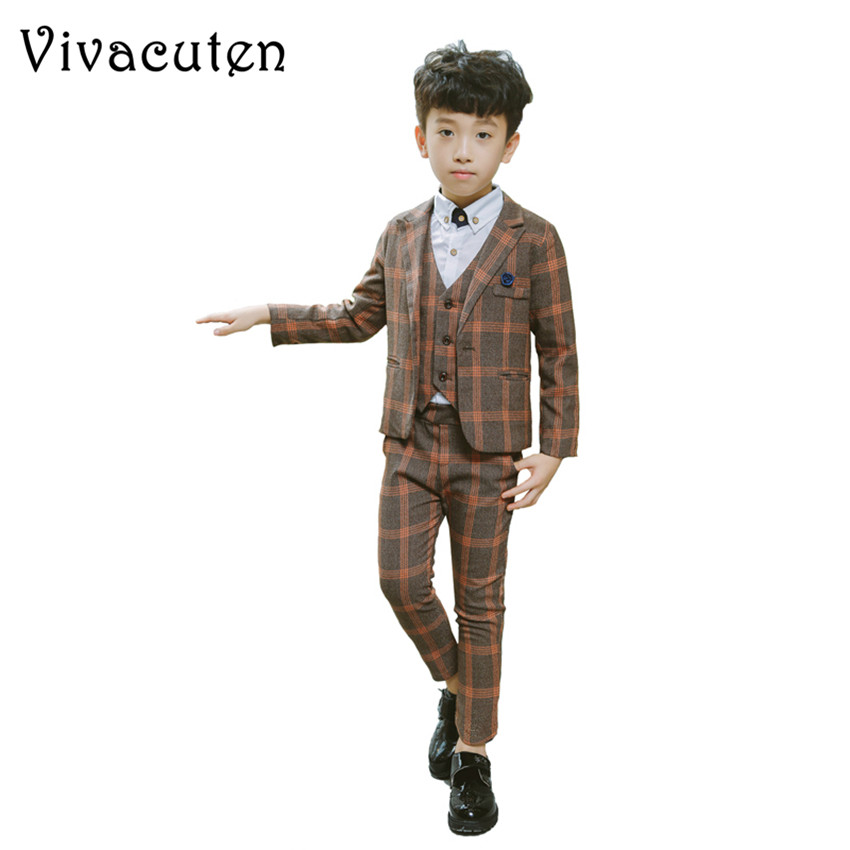 Children Formal Prince Suit Boys Fashion Suit Set Kids Wedding Birthday Party Blazer Vest Shirt Pants 4pcs Clothes Set F004 4pcs set boys clothing set gentleman kids plaid shirt with vest and bow and pants fashion wedding boys suit baby boys clothes