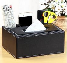 1PC Tissue Box PU Leather Multifunctional Napkin Phone Remote Control Holder Storage Desk organizer Container OK 0747