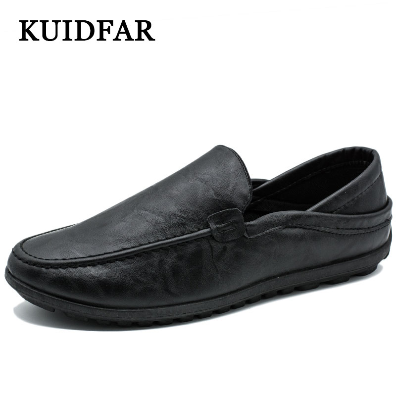 KUIDFAR fashion New footwear men shoes Roman Breathable Men's Casual car driving Shoes Men Loafers soft Leather Shoes for summer branded men s penny loafes casual men s full grain leather emboss crocodile boat shoes slip on breathable moccasin driving shoes