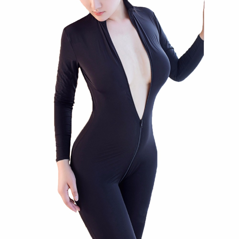 Buy Women Crotchless Sheer BodyStocking Temptation Bodysuit Sexy Lingerie Double Zipper Ouvert Catsuit Long Sleeve Body Stocking