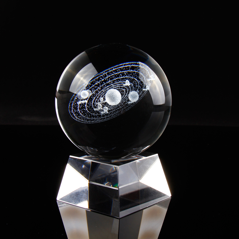 Sistema solare Sfera di Cristallo Laser 3D Inciso Sole Cosmic Modello con Vari Corpi Celesti Sistema Home Decor Decorativo Palla