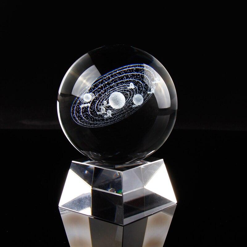 Système solaire Boule de Cristal 3D Laser Gravé Soleil Système Cosmique Modèle avec Plusieurs Corps Célestes Maison Décor Boule Décorative