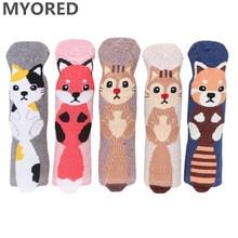 цена на MYORED 5pairs woman short socks women's cotton cartoon animal for woman casual dress  gift socks Calcetines de dibujos animados