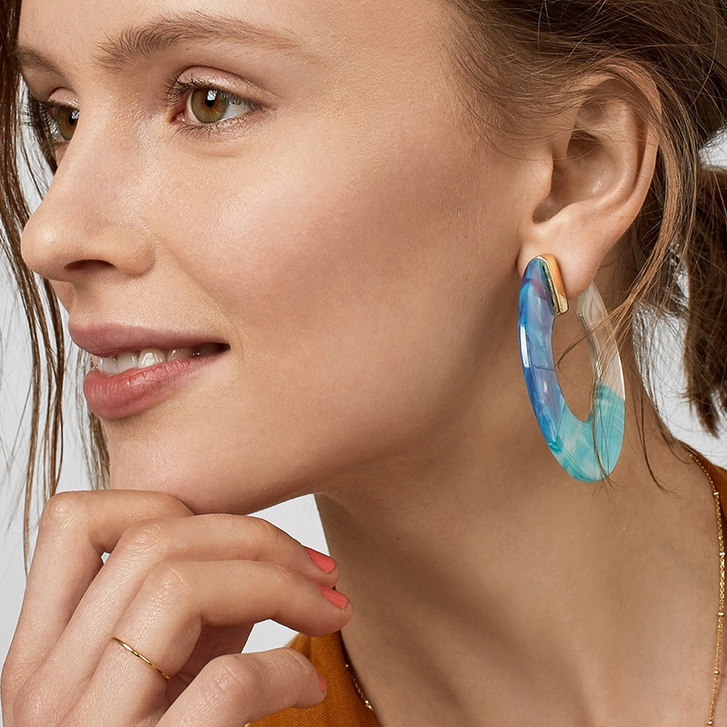 Srcoi Multicolor Circle Round Acrylic Stud Earrings Geometric C Shape Boho Large Statement For Women Beach Jewelry