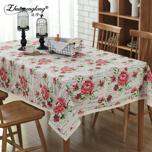 Superb Fashion Rose Cotton Linen Tablecloths Dining Room Washable Table Cloth  Rectangle Table Covers For Wedding Party