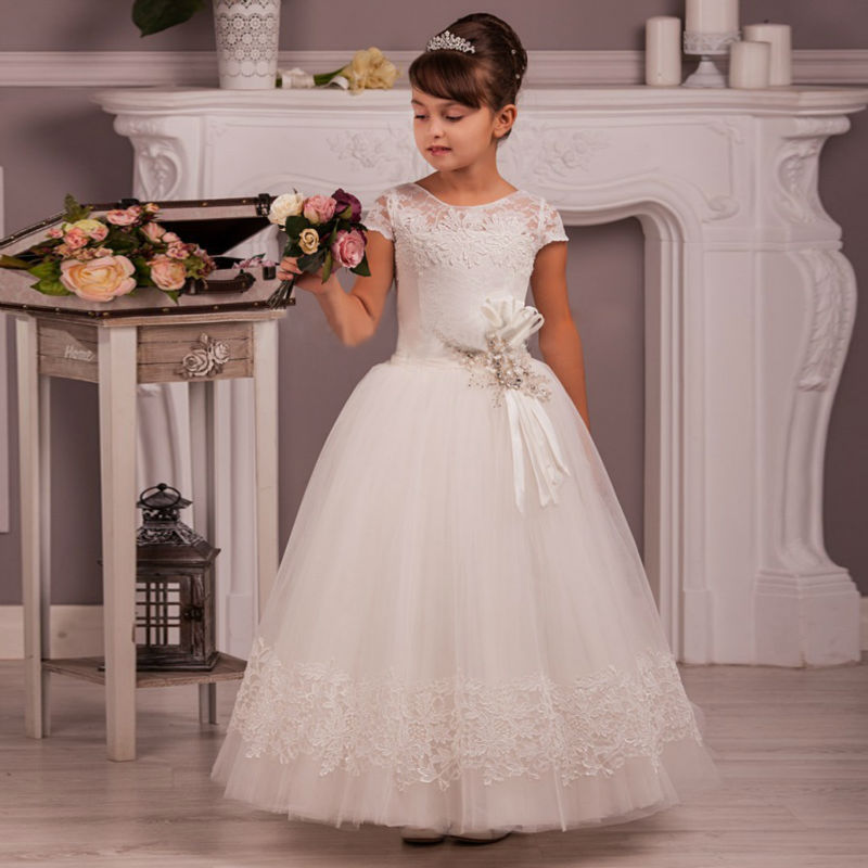 Ball Gown Kids Pageant Dresses Ankle-Length Flower Girl Dress Lace Communion Dress Sleeveless Long White Mother Daughter Dresses a line flower girl dress mint green sleeveless o neck little girl pageant dresses kids party dress lace mother daughter dresses