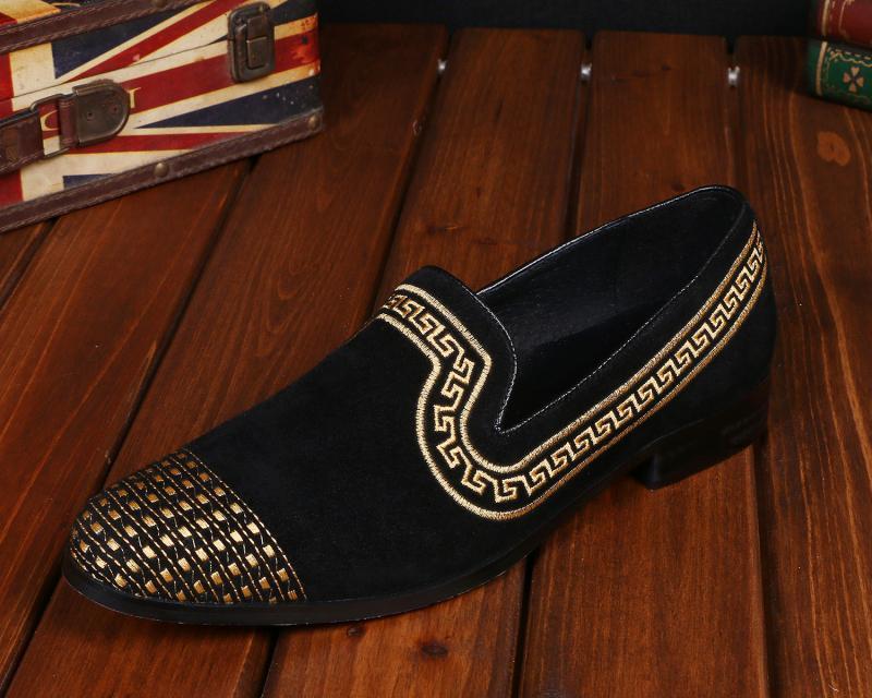 купить CH.KWOK Men Loafers Fashion Suede Wedding Dress Shoes Party Banquet Italian Smoking Slippers Mens Flats Slip On Plus Size 12 по цене 5239.21 рублей