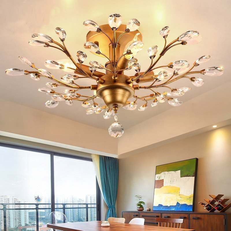 Bedroom lights wrought iron crystal ceiling light porch pastoral creativity led living room lamp porch restaurant Ceiling Lamp brief living room lights crystal pendant light white rustic wrought iron lamp