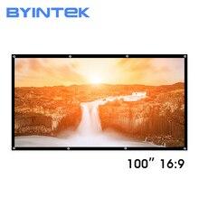 BYINTEK 100 cal biały matowy pcv miękkie składane HD 1080P projektor kina domowego wideo ekran 16:9 z otworami