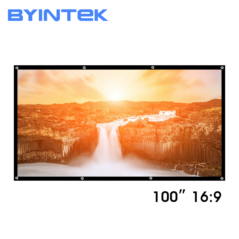BYINTEK 100inch Matt white PVC Soft Foldable HD 1080P Home Theater Projection Projector Video Screen 16:9 with holes-in Projection Screens from Consumer Electronics