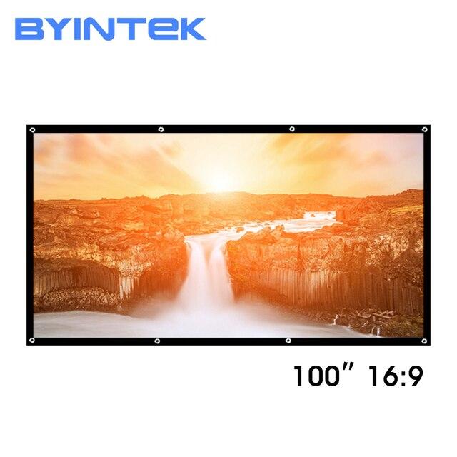 Byintek 84インチ100インチ120インチ150インチのpvcソフト折りたたみhd 1080 1080pホームシアター屋外投影プロジェクタースクリーン16:9