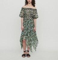 2019 summer new fashion slash collar flower print lantern short sleeve women elastic waist floral irregular long skirt