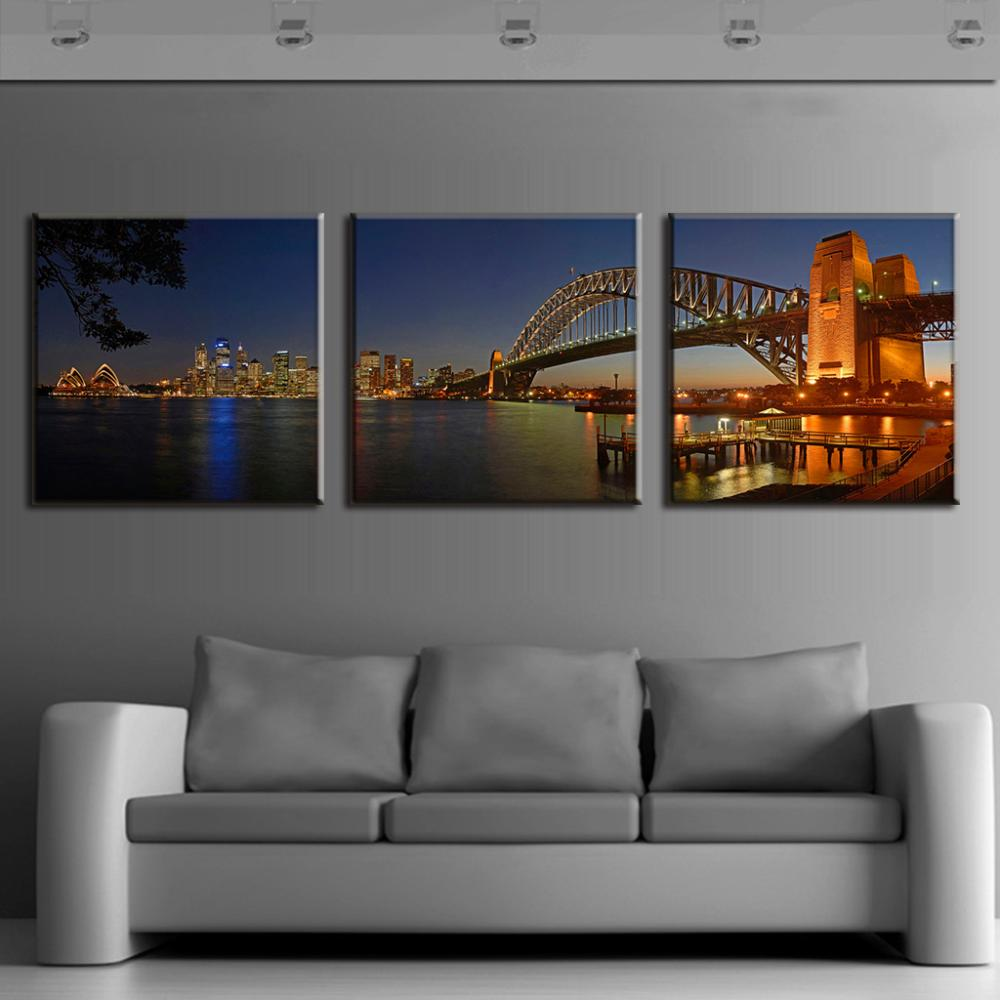 3 Pcsset Modern Wall Paintings Sydney Harbour Bridge Night Scene