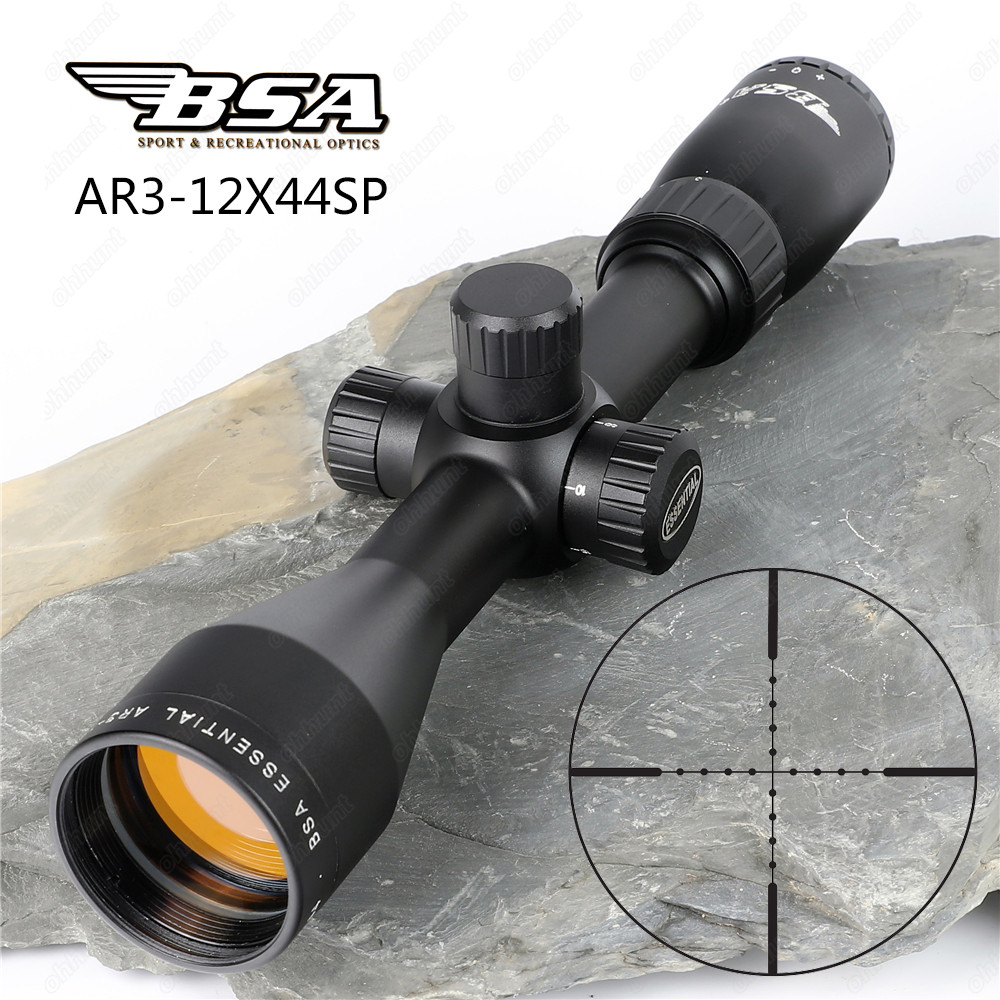 Hunting Optics Sights BSA Essential AR 3-12X44 SP Riflescope Mil Dot Reticle Side Parallax Tactical Shooting Rifle Scope tactical bsa catseye 6 24x44 sp optical sight side parallax riflescope mil dot hunting rifle scope