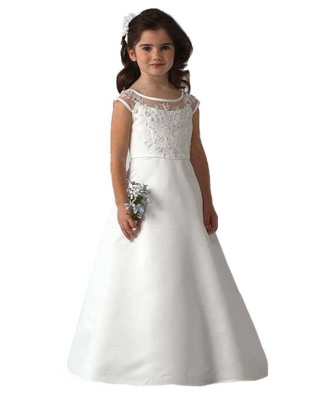 ФОТО Elegant White Ankle-Length Flower Girl Prom Dresses Sleeveless Crew Neck A-line Taffeta Rosette Vestidos de Comunion 2-12 Years