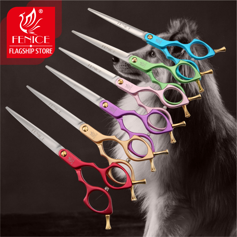 Fenice Colorful 6.5/7.0 inch Pet Cutting Scissors for Dog/Cats Grooming Straight Cutter