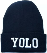 Мода Зима Мужская Теплый Обычная Шапочка Хип-Хоп Лыжный Вязать Шляпы Шапка с буквами «YO LO»