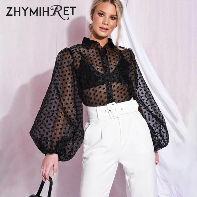 ZHYMIHRET Casual Polka Dot Mesh Blouse Shirt Women 2021 Long Lantern Sleeve Tops And Blouses See Through Blusas Mujer De Moda 1
