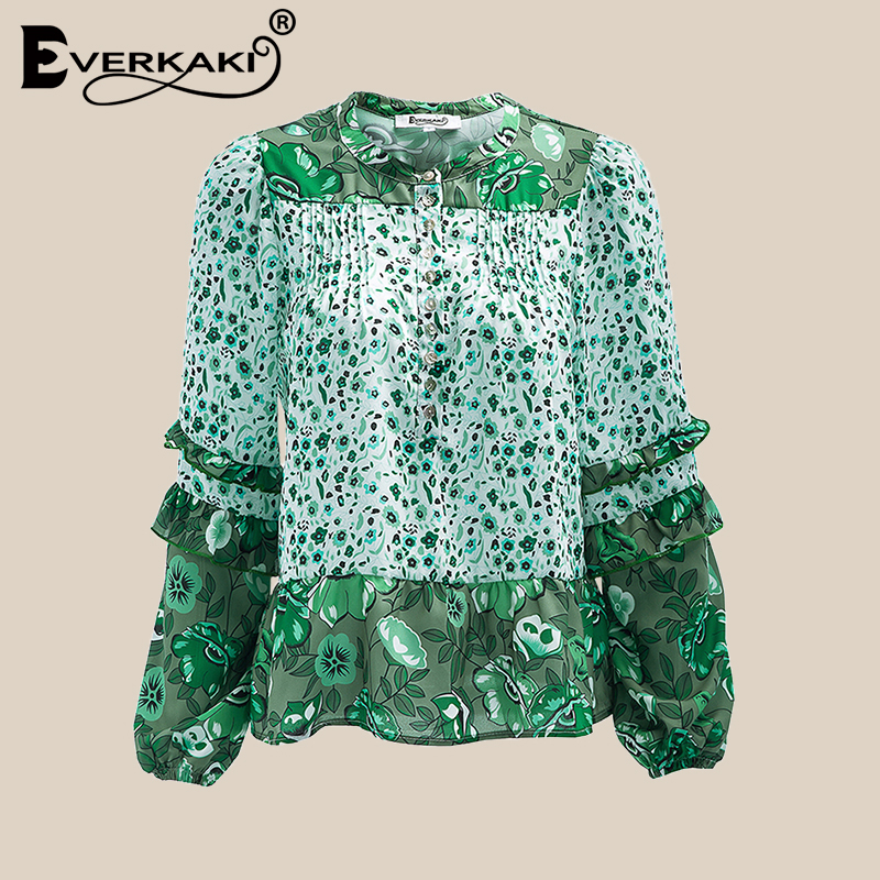 Everkaki Vigor Grün Boho Bluse Frauen Lose Baumwolle Floral Shirts Bohemian Tops Laterne Hülse Herbst Frauen Tops Und Blusen
