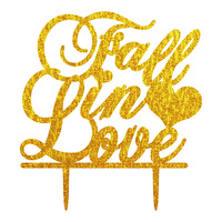 Gold Silver Acrylic Fall In Love Cake Flag Toppers Multi Color For Wedding Anniversary Party Cake Decor Hot Sale