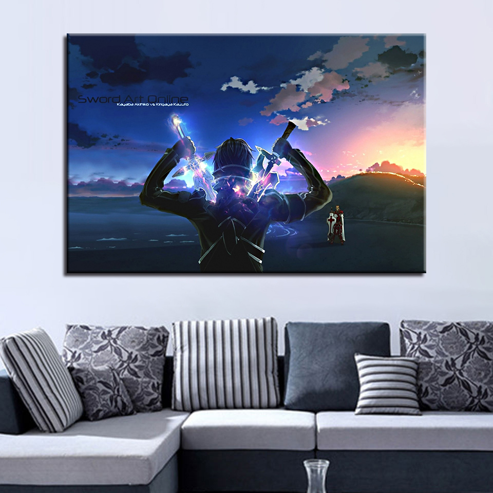 Canvas Paintings Home Decor HD Prints Poster 1 Piece/Pcs Sword Art Online Kirito Anime Pictures Living Room Wall Art Framework