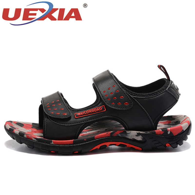 UEXIA Summer Unisex Lovers Outdoor Sport Beach Slippers Leather Sandals Men Flats Shoes Breathable Soft Casual Sandal Sandalias summer men sandals 2016 new casual style fishermen mesh shoes man solid breathable soft beach shoes flats for lovers xwz3112