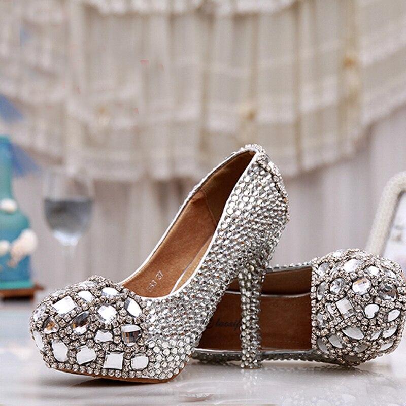Wedding Silver Heels: 2018 Handmade Silver High Heel Crystals And Rhinestones