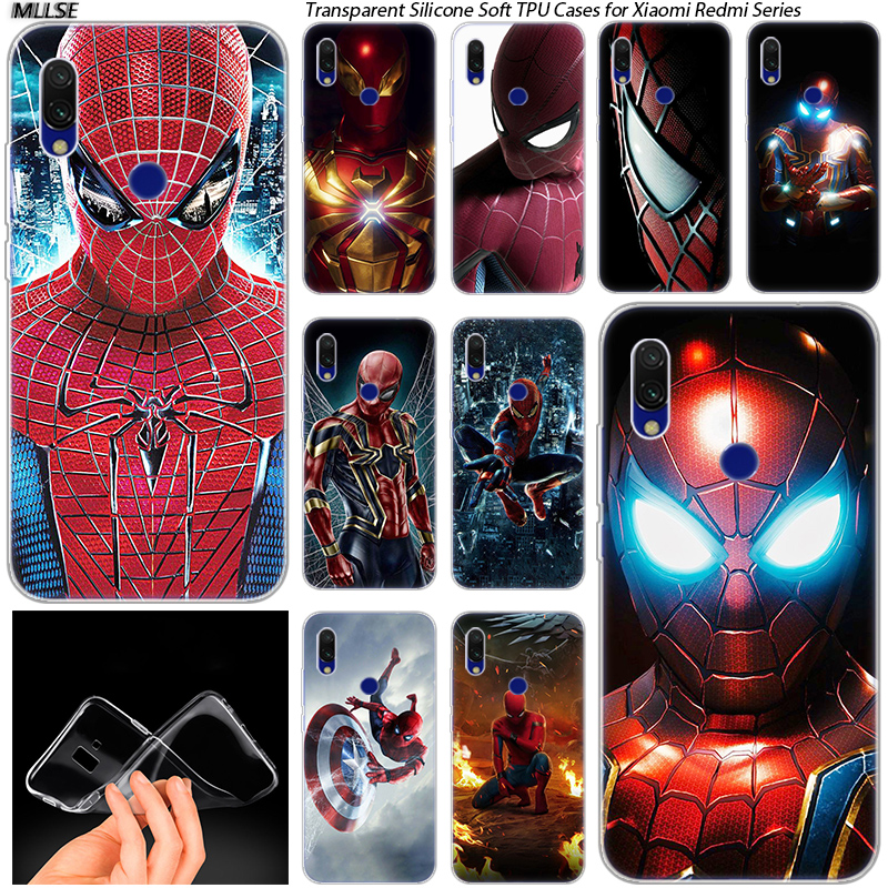 The <font><b>Amazing</b></font> Spider Man Soft Silicone Case for <font><b>Xiaomi</b></font> Redmi K20 7 7A 5 5Plus 6 6A S2 Note 8 7 6 5 Pro Fashion Cover image