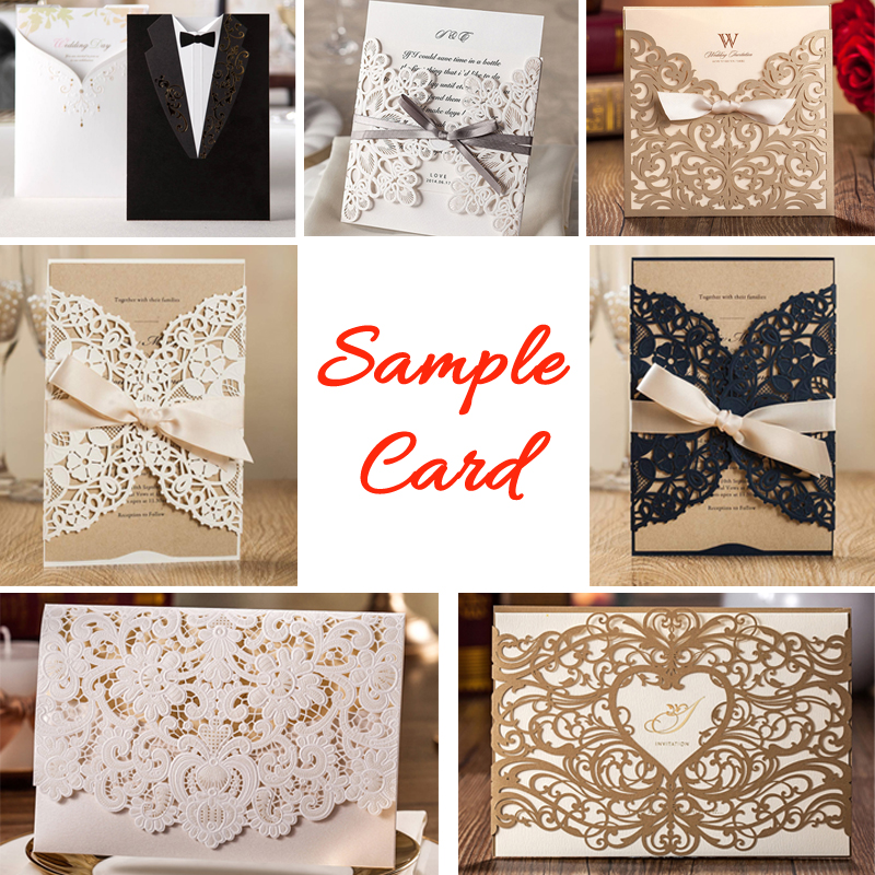 1 PCS Sample Wedding Invitations with Blank Laser Cut Floral Invites Cards Envelope and Seal for Bridal Shower Baby Shower