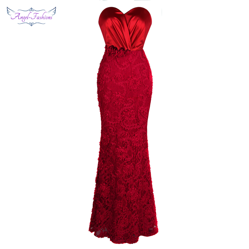 Angel-fashions Long   Prom     Dresses   Sweetheart Pleat Flowers Lace Mermaid Formal Vestido de noche Red 383